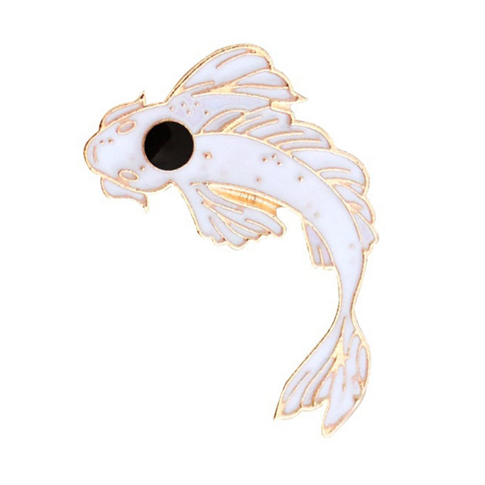 Finance Plan The Latest Lovely Cartoon Fish Badge Cod Diving Cloth Jeans Denim Brooch Pin Party Jewelry White + Black