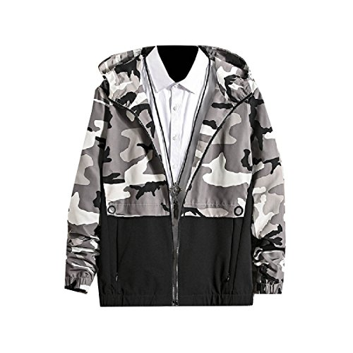 Zip Stitch Students AGAING Lime men Coat Men Againg clothes Camo Bomber Hooded Tops Jacket XvgCvqw