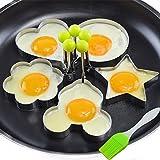 Neon® 5PCS Stainless Steel Fried Egg Mold Pancake Mold Kitchen Tool Pancake Rings with Oil Brush (Kitchen)