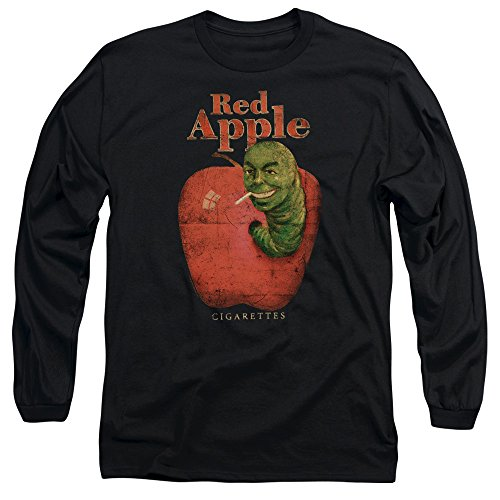 Pulp Fiction Red Apple Cigarettes Long Sleeve Shirt, Black, 2XL (Cigarettes Apple Red)