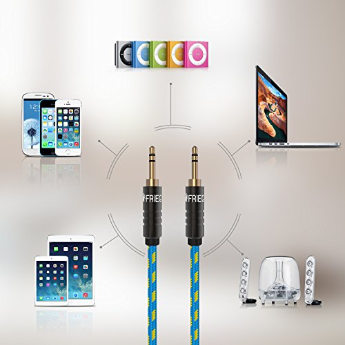 FRiEQ 3.5mm Male To Male Car and Home Stereo Cloth Jacketed Audio Cable (4 Feet/1.2M) for iPhone, iPad, iPod, Smartphones and mp3 players (Plug will be Fully Seated with Phone Case On) Blue/Yellow