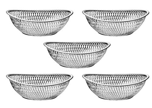 (Impressive Creations Reusable Decorative Serving Basket - Plastic Fruit Basket - Bread Basket with Elegant Silver Finish - Functional and Modern Weaved Design - 5pk)