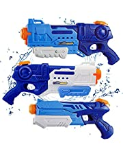 WTOR Toys 3 Pack Water Guns Summer Toys Water Blaster Squirt Guns Water Toy Swimming Pool Beach Outdoor Play Party Favors for Kids Girls Boys Adults