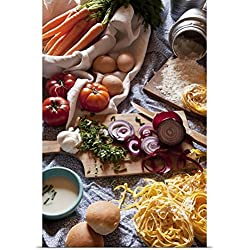 Great BIG Canvas Poster Print entitled Ingredients for Italian pasta and tomato sauce