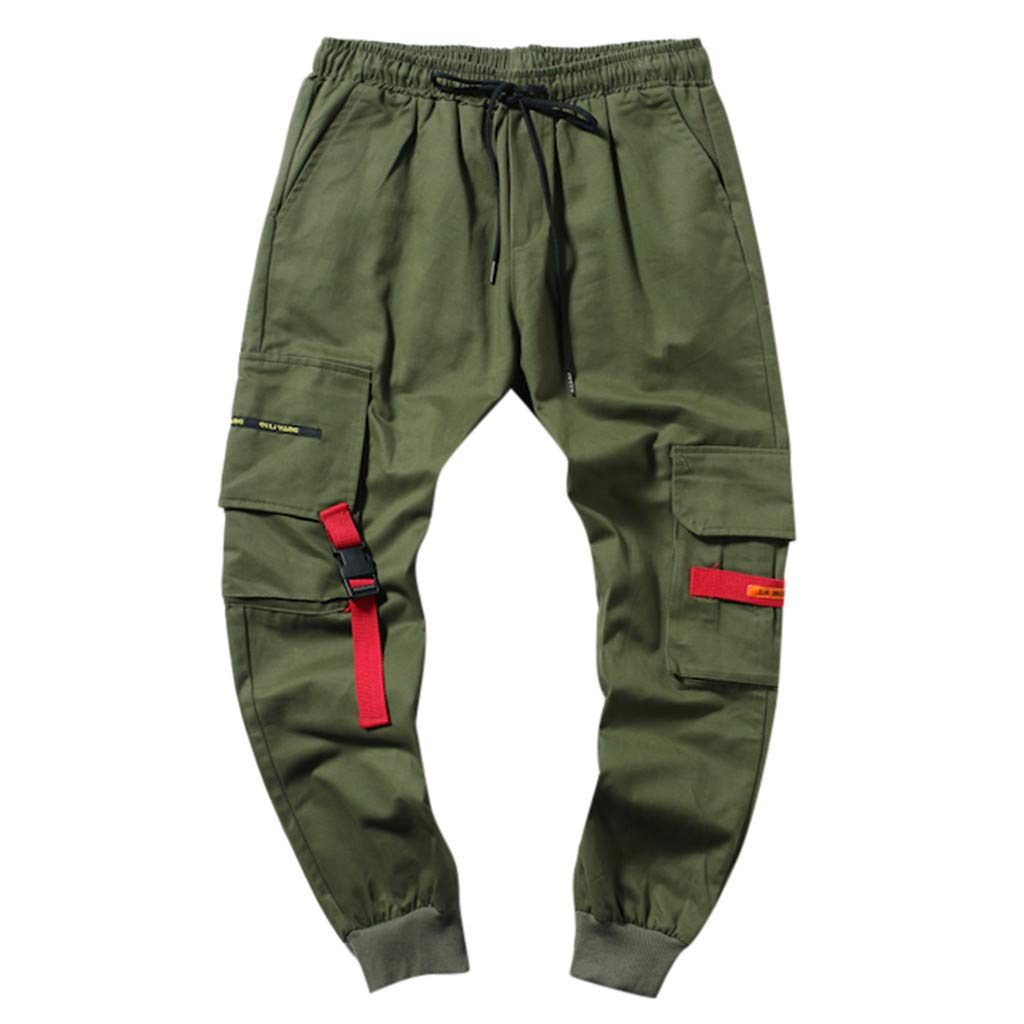 Allywit Trousers for Men Mens Comfy Cotton Skinny Sweatpants Basic Drawstring Pant Gym Training Army Green