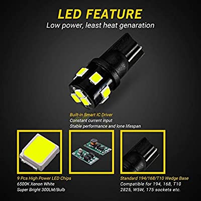 AUTOGINE 194 LED Bulbs 6000K Xenon White 300LM Super Bright 9-SMD 2835 Chipsets T10 168 175 2825 W5W LED Replacement Light Bulbs for Car Interior Dome Map Door License Plate Lights (Pack of 4): Automotive