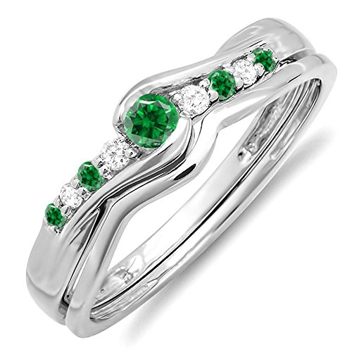 ld & White Diamond Bridal Promise Engagement Ring Set (Size 7) (Emerald Diamond Ring Settings)