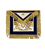 Masonic MASTER MASON Silver/Gold Handmade embroidery Apron Blue (Gold Embroidery)