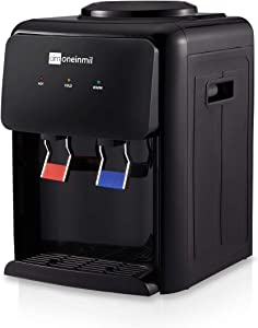 Aoxun Countertop Water Cooler Dispenser Top Loading, 2-5 Gallon Hot & Cool Water, Ideal For Dorm Home Office Use, Black