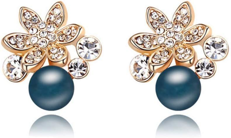 Thumby Pendientes Salvajes/Pendientes de Botón/Pendientes Colgantes/Hebilla de Oreja, Pendientes de Flor de Diamante Temperamento Vintage Pendientes de Perlas Azul Marino