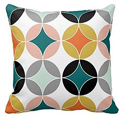BabysSJ Modern Mid Century Circles Repeat Pattern Throw Pillowcase 18×18 Inches 51SzwLnw1AL