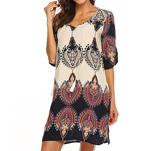 LYN Star✨ Women Bohemian Neck Tie Vintage Printed Ethnic Style Summer Shift Dress Casual Damask Print T-Shirt Dress -