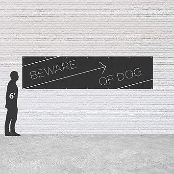 Basic Black Heavy-Duty Outdoor Vinyl Banner 16x4 Beware of Dog CGSignLab