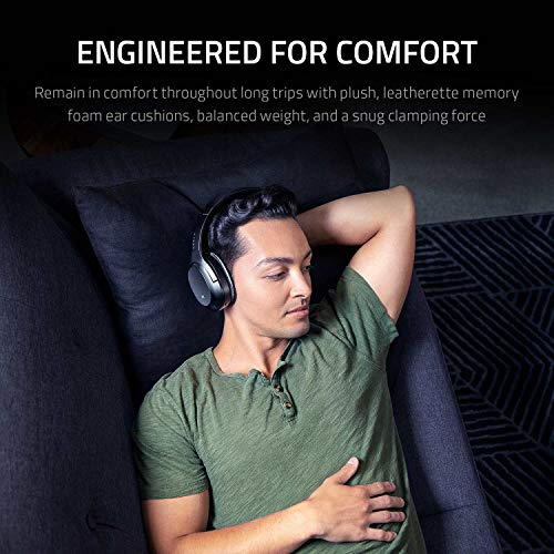 Razer Opus Active Noise Cancelling ANC Wireless Headphones: THX Audio Tuning - 25 Hr Battery - Bluetooth & 3.5mm Jack Compatible - Auto Play/Auto Pause - Carrying Case Included - Midnight Blue
