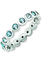 3.5mm Sterling Silver Stackable Expressions March Swarovski Element Ring - Ring Size Options: 10 5 6 7 8 9