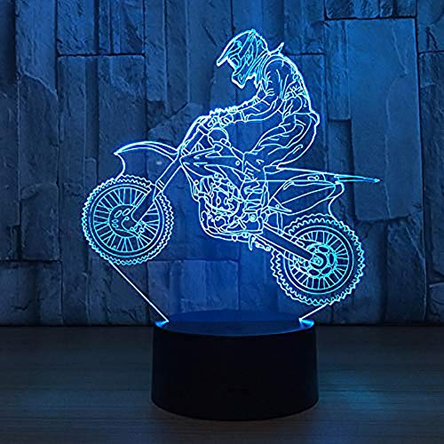 YKL WORLD Motocross 3D Lamp, LED Illusion Motorcycle Night Light for Kids Room Decor USB 7 Color Changing Toys Birthday Gifts for Father Boys Sports Guy (The Best Motocross Bike In The World)