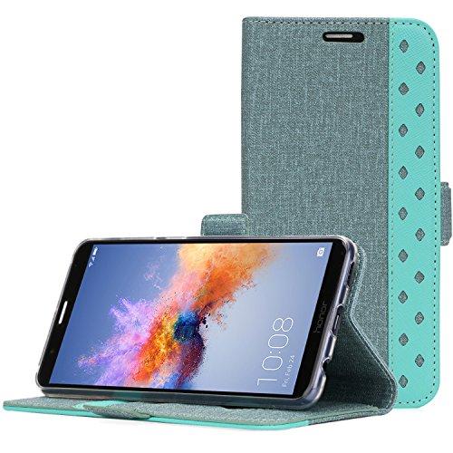 ProCase Huawei Mate SE Case, Honor 7X Wallet Case, Folio Folding Wallet Case Flip Cover Protective Case for Huawei Honor 7X Huawei Mate SE, With Card Holders Kickstand -Teal