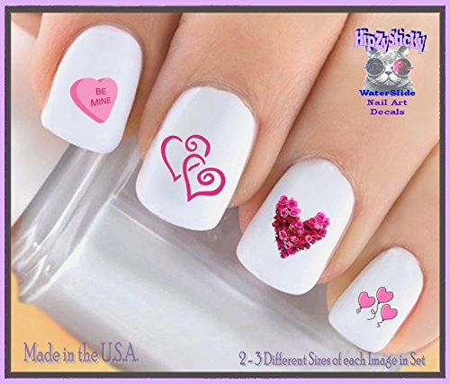 Holiday Valentines Day - Valentines #7604 Pink Roses Heart Pink Balloon Hearts Pink Sweetheart Candy Love WaterSlide Nail Art Decals - Highest Quality! Made in -