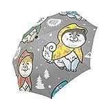 your-fantasia Custom Auto Open Close Folding Umbrella Siberian Husky Puppies in Colorful Raincoats Waterproof Travel Umbrella