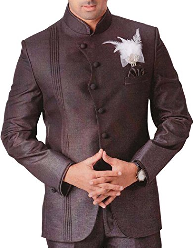 INMONARCH Mens Brown 4 pc Tuxedo Suit Angrakha Style brown TX753R44 from INMONARCH