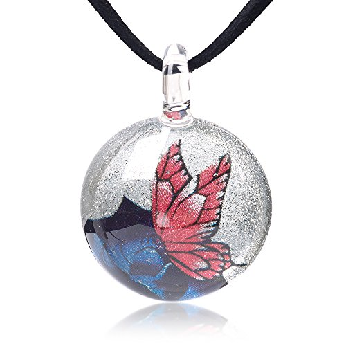 Chuvora Hand Blown Glass Jewelry Pink Butterfly Over Blue Rose Flower Round Pendant Necklace, 17-19 inches