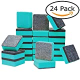 dry erase board eraser - officematters Cute Magnetic Chalkboard Whiteboard Dry Erasers Cleaner. Pack of 24 (24Pcs - Green)
