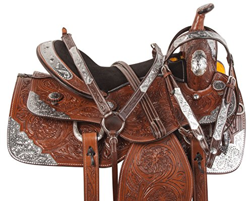 BROWN TEXAS STAR HAND CARVED SILVER WESTERN LEATHER COMFY FULL QUARTER BAR PLEASURE TRAIL SHOW HORSE SADDLE BRIDLE BREASTPLATE HEADSTALL (17)