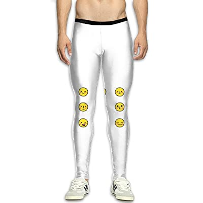 Adult's Compression Pants Sports Leggings Tights Baselayer Cute Emoji Yoga Gym Running Workout Hiking Basketball Fitness - For Men Womens