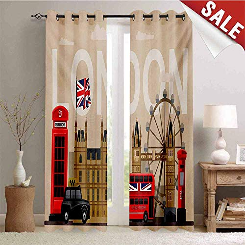Hengshu London Blackout Draperies for Bedroom Famous Great Britain Landmarks Monuments Collection Touristic Travel Destination Thermal Insulating Blackout Curtain W108 x L108 Inch Multicolor