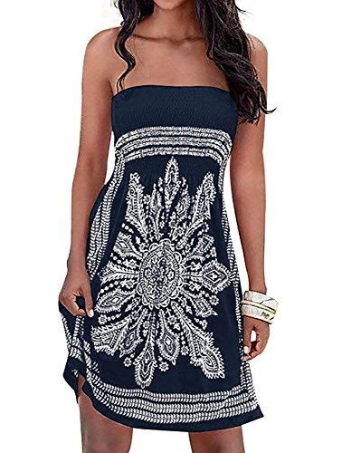 Initial Women's Dress Bathing Suit Coverup Floral Print Bohemian Beach Dress (Small  Navy-1)