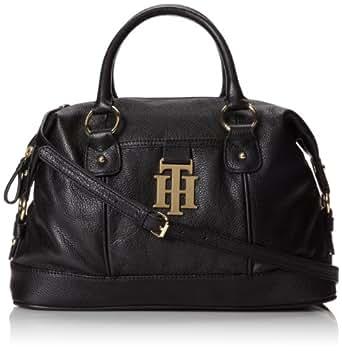 Tommy Hilfiger Monogrammed Two Convertible Bowler Pebble Shoulder Handbag,Black-990,One Size