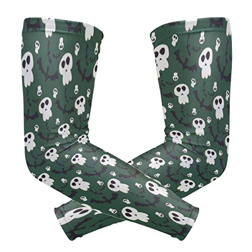 Halloween Ghost Bat Green Unisex Arm Sleeve,UV Protection Arm Compression Sleeve, Skin Protection Sport Arm Cooler Sleeve for Running Hiking Jogging Motorcycling Climbing Camping -