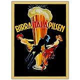 vintage advertisement - Trademark Fine Art Birra Italia Pilsen!, 35x47-Inch Canvas Wall Art