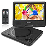 WONNIE 7.5 Inch Portable DVD Player with Swivel Screen, USB / SD Slot and 4 Hours Rechargeable Battery, Perfect Gift for Kids ( Black )