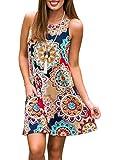 ZESICA Women's Summer Sleeveless Damask Print Pocket Loose T-shirt Dress, Geometric, Medium