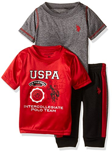 U.S. Polo Assn. Baby Boys' Space Dyed, Screen Print T-Shirt and Fleece Jog Pant, Red, 12M