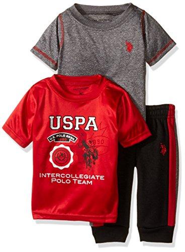 U.S. Polo Assn. Boys' Space Dyed T-Shirt, Screen Print T-Shirt and Fleece Jog Pant, Red, 18M