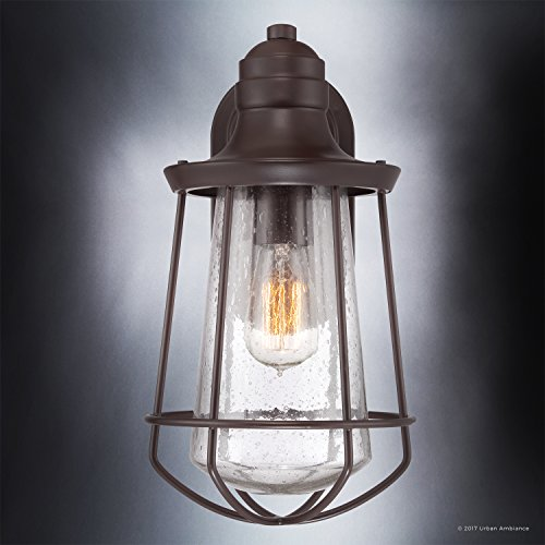 Luxury Vintage Outdoor Wall Light, Medium Size: 15''H x 8.5''W, with Nautical Style Elements, Cage Design, Estate Bronze Finish and Seeded Glass, Includes Edison Bulb, UQL1121 by Urban Ambiance by Urban Ambiance (Image #4)