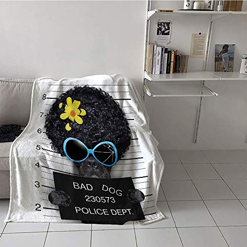Khaki home Children's Blanket Portable Digital Printing Blanket (60 by 70 Inch,Funny,Mug Shot of Hippie Wanted Dog Criminal Puppy Afro Boxer Gangster Prison Humor Theme,Black Yellow -