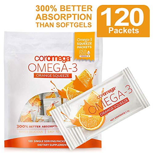 Coromega Omega 3 Fish Oil Supplement, 650mg of Omega-3s with 3X Better Absorption Than Softgels, Orange Flavor, 120...