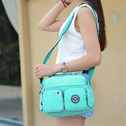 Bag Blue ocean Pockets Compact Handbag handle Tiny Chou Waterproof Top Crossbody Blue Light Nylon Shoulder With Blue nfnZpwFqv
