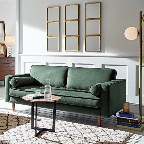 """Rivet Aiden Tufted Mid-Century Modern Velvet Bench Loveseat Sofa, 74""""W, Hunter Green"""
