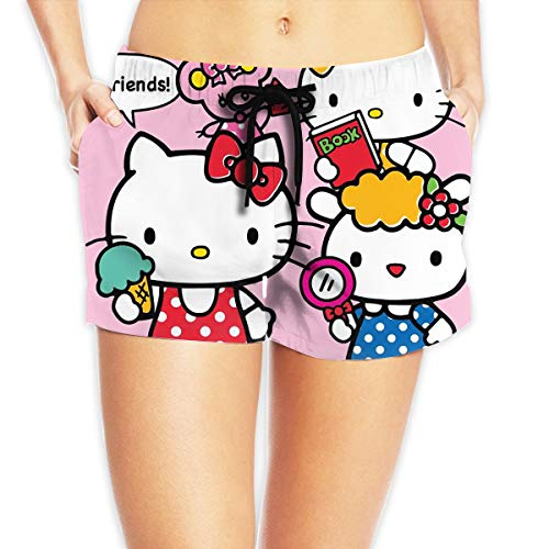 Women Sexy Hot Pants Summer Casual Shorts Hello Kitty All Friends Short Beach Trousers White