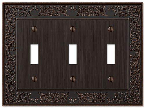 - Amerelle English Garden Triple Toggle Cast Metal Wallplate in Aged Bronze