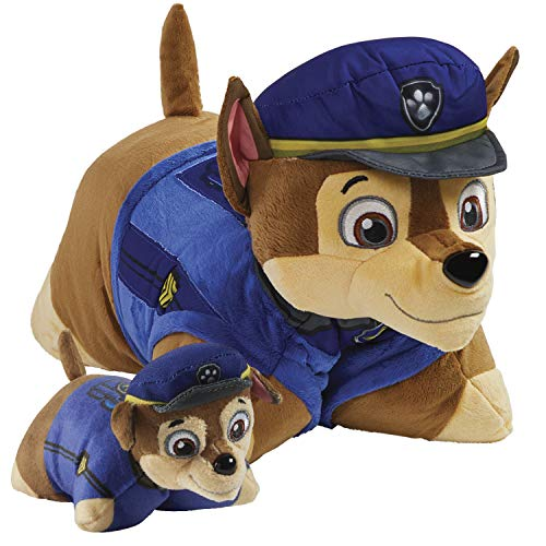 """Pillow Pets Nickelodeon Paw Patrol Chase Set, 16"""" Chase 5"""" Chase Mini, Plush Stuffed Animal Toys, Multicolor"""