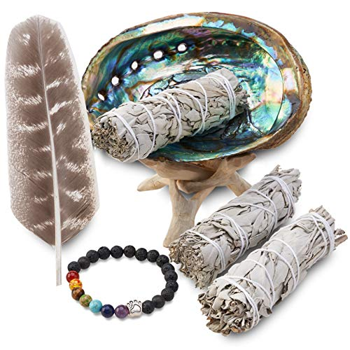 Sage Wand - JL Local 3 White Sage Smudge Gift Kit - Abalone Shell, Feather, Stand, Instructions & More - Smudging, Cleansing, Healing & Stress Relief