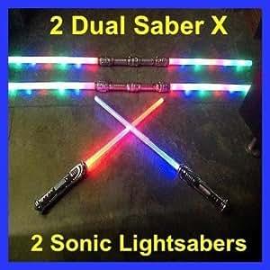 SD 2 Led FX STAR WARS Lightsaber Light Saber Sword w/ Sound Color FX+ 2 Dual Sabers
