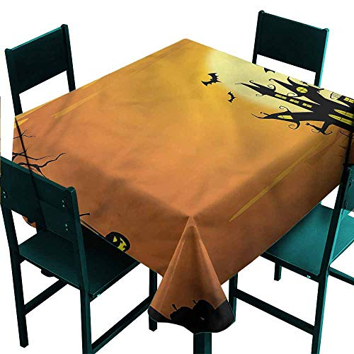 DONEECKL Washable Tablecloth Halloween Haunted House Excellent Durability W36 xL36]()