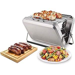 REWD - Barbecue portatile multifunzione, in acciaio inox, pieghevole, a carbonella 8 spesavip