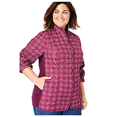 Woman Within Women's Plus Size Zip-Front Quilted Jacket: Clothing